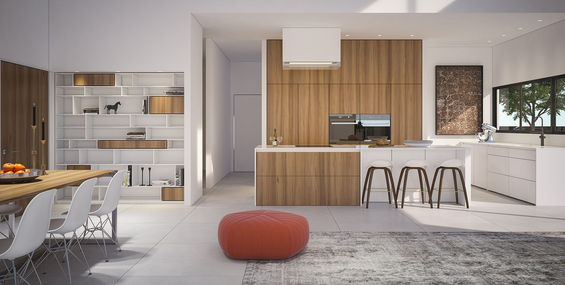 Architectural Visualization: Living room and kitchen, Hardof Project by El-Yam