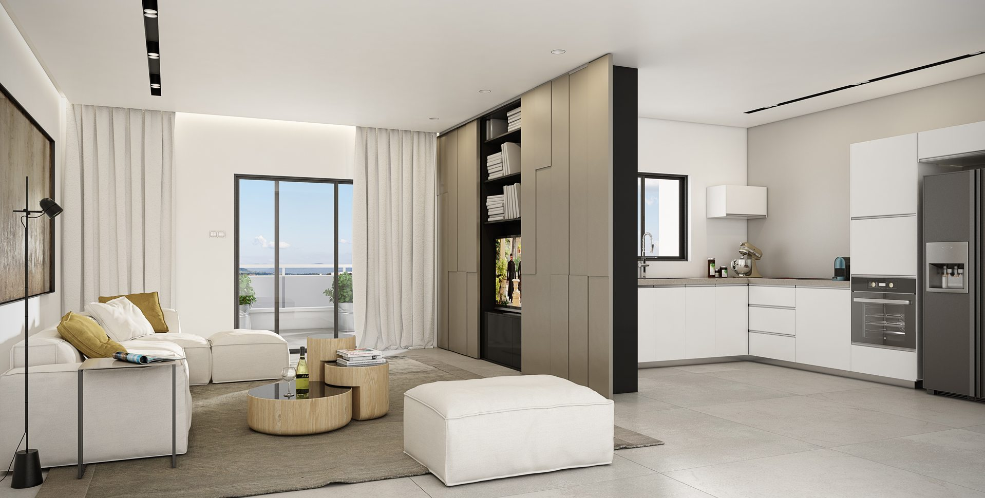 Architectural Visualization: Residential Project, Beer-Sheva, Living room and kitchen interior design