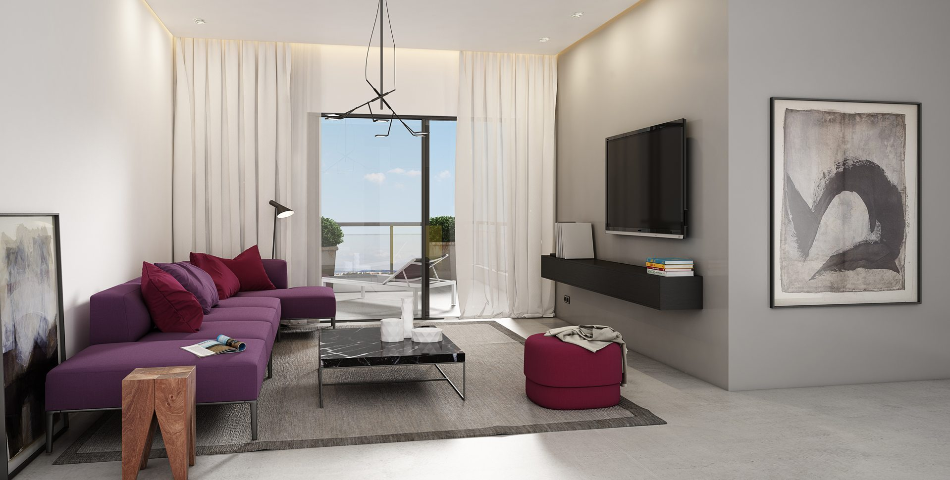 Architectural Visualization: Residential Project, Beer-Sheva, Living room interior design