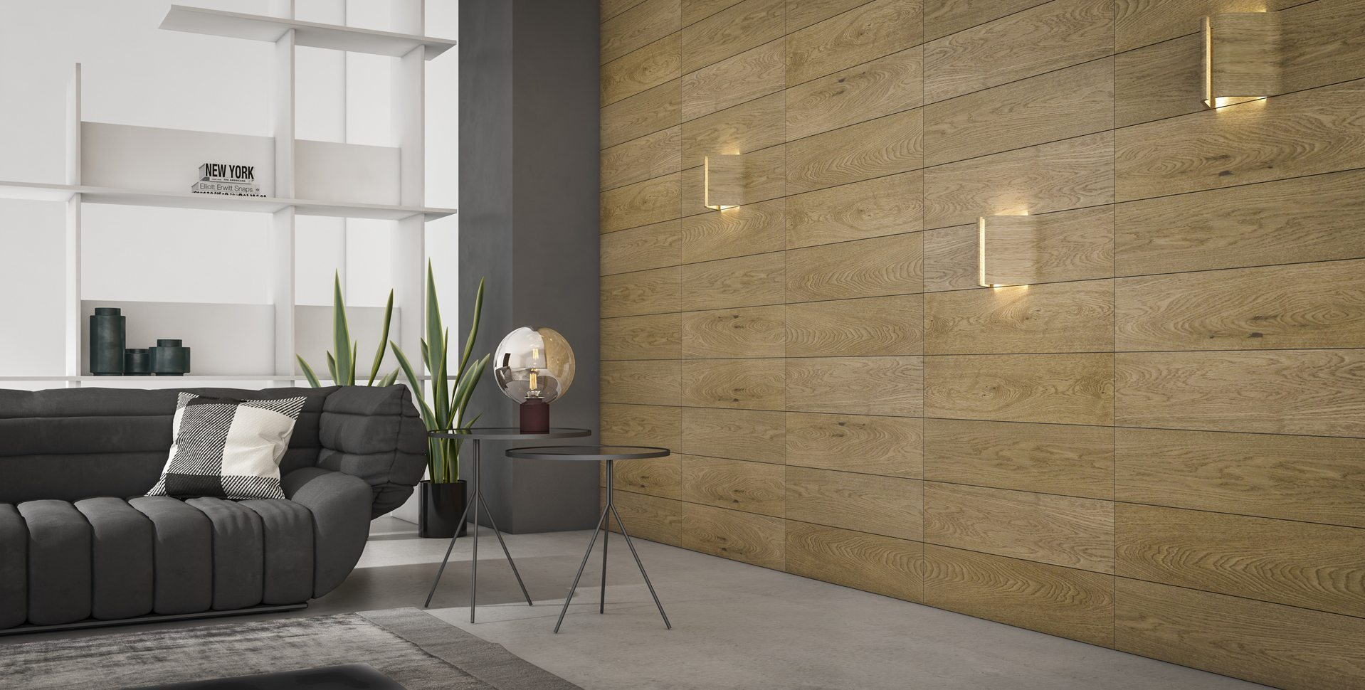 Product Visualization: Wall Covering and Lighting Fixtures, Living room Interior