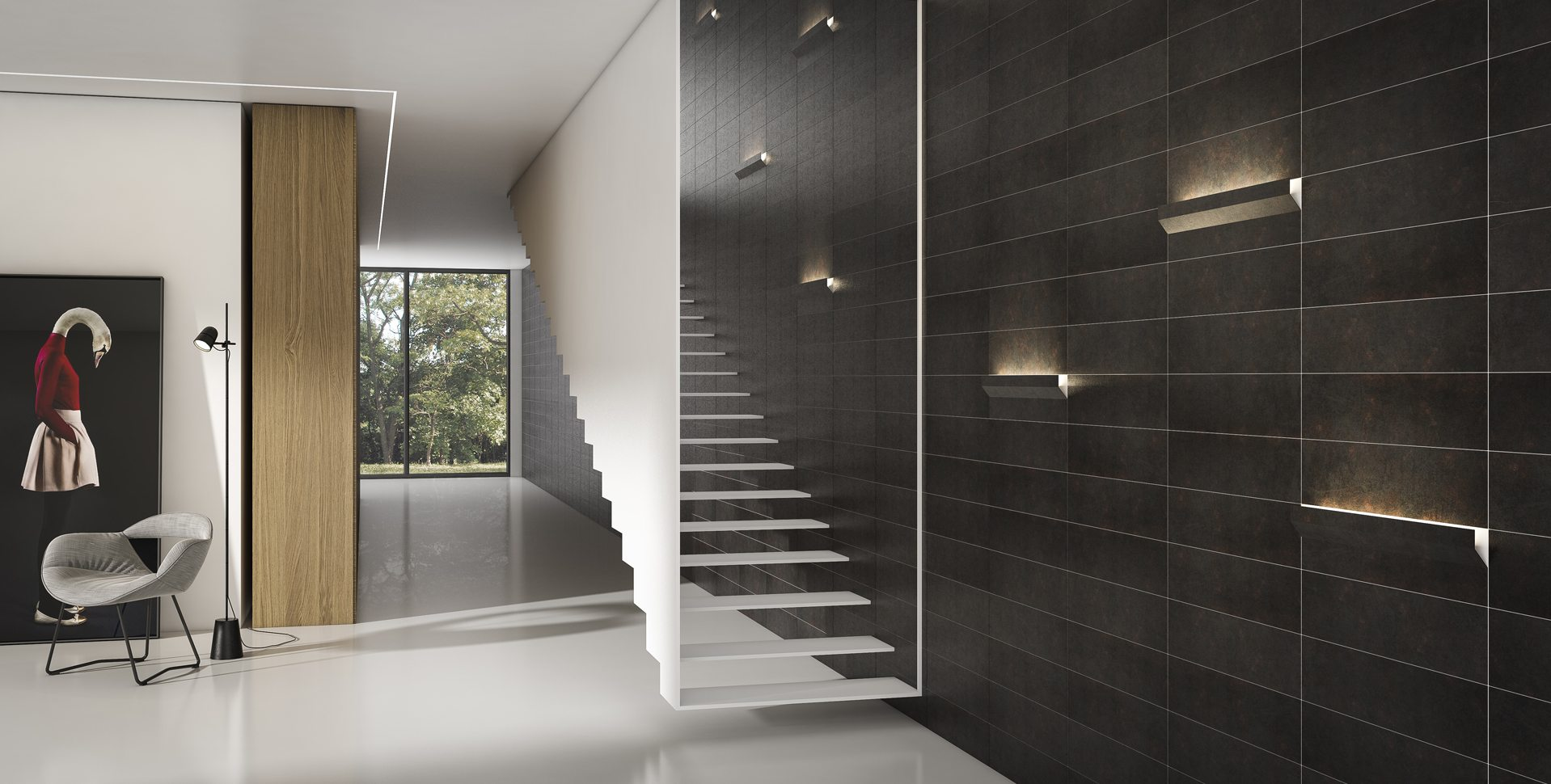 Product Visualization: Wall Covering and Lighting Fixtures, Hall Interior