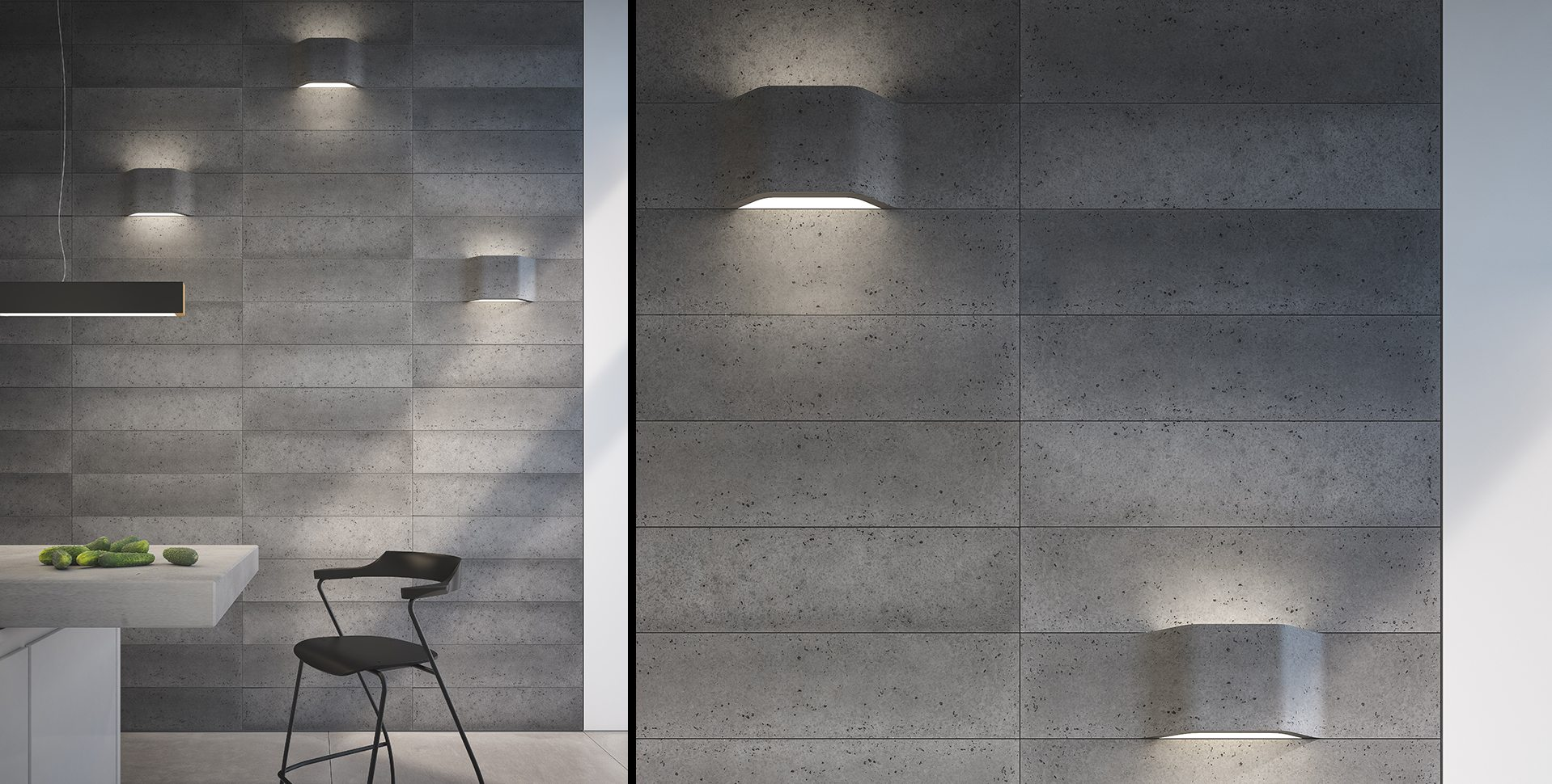 Product Visualization: Wall Covering and Lighting Fixtures, Kitchen Interior