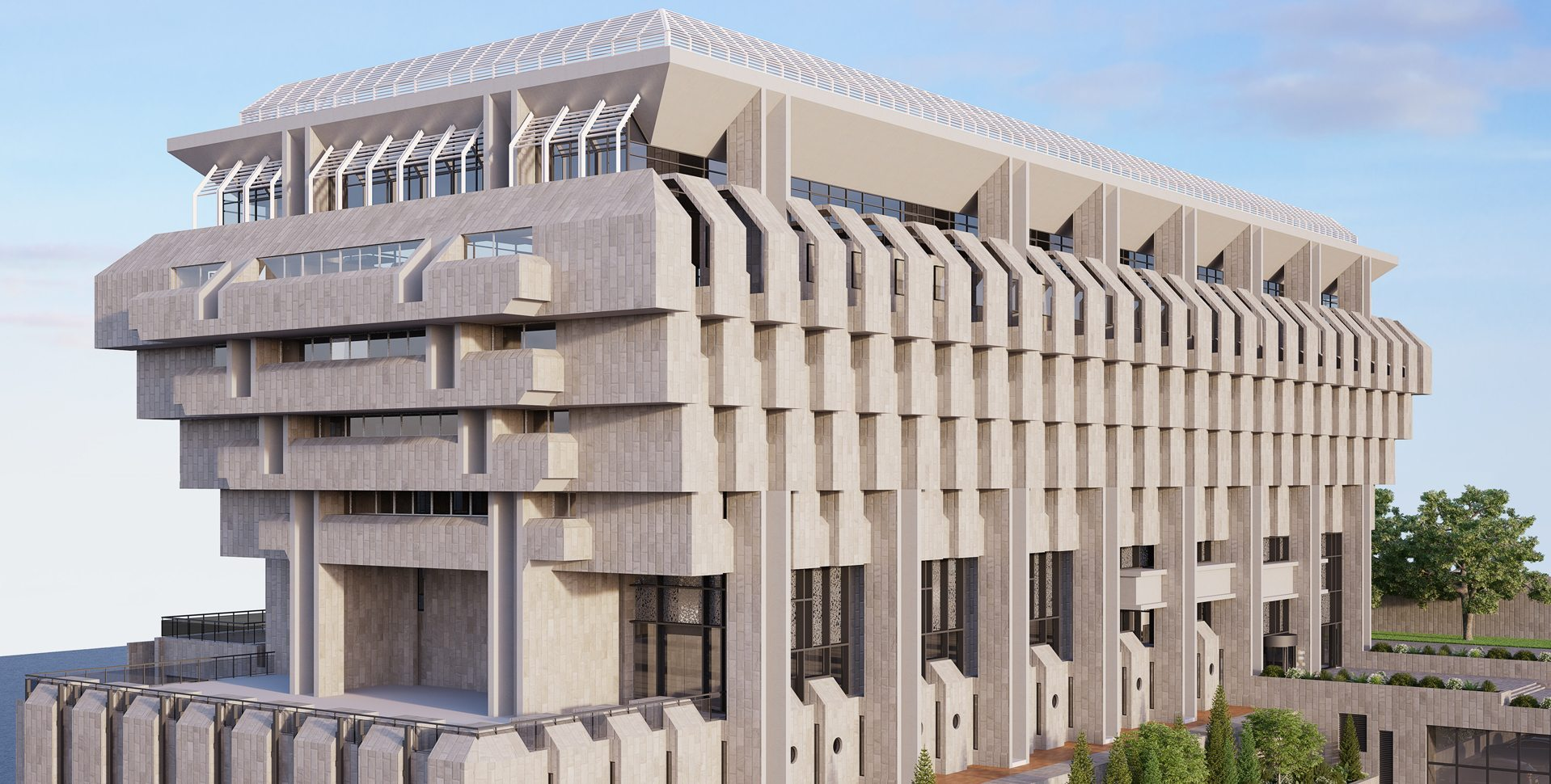 Architectural Visualization: Bank of Israel Structure, Exterior View
