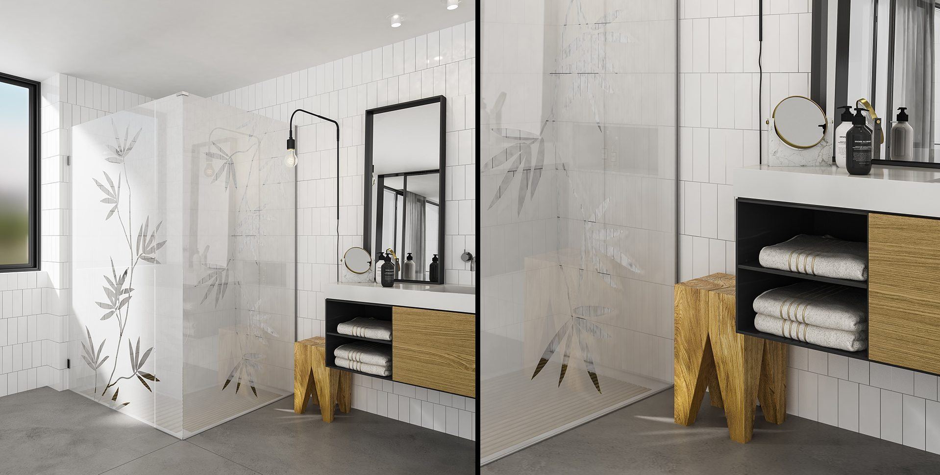 Product Visualization: Printing on glass, Bathroom Interior