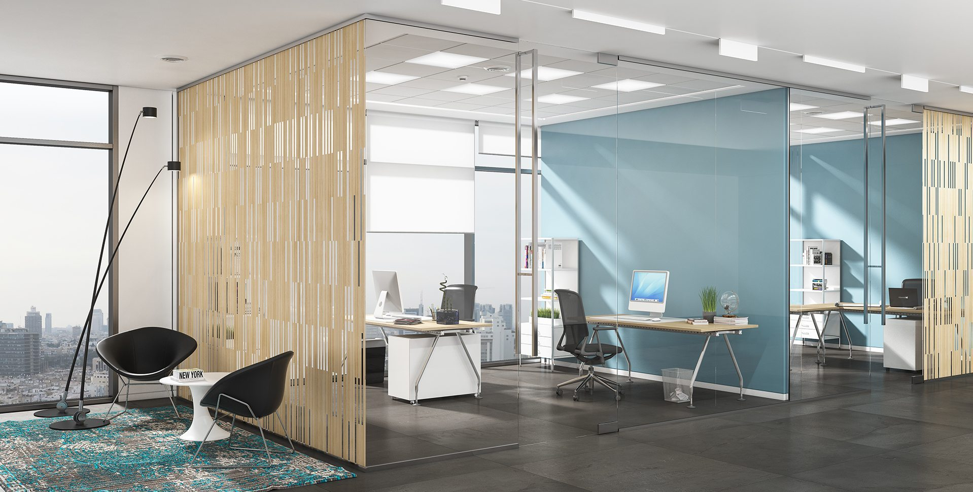 Product Visualization: Printing on glass, Office Interior