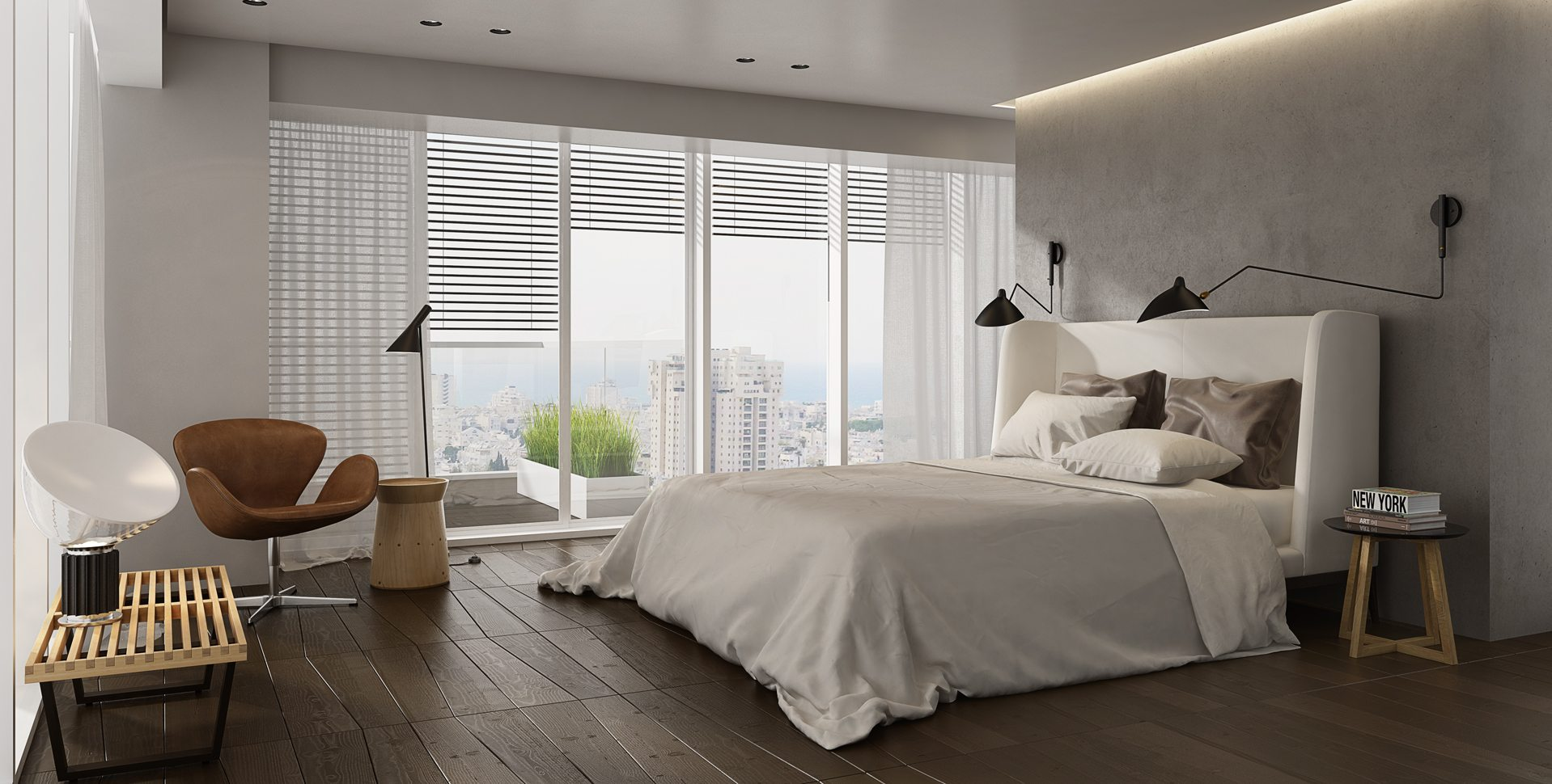 Architectural Visualization: Penthouse Apartment, Bedroom, Architect Itzik Eini