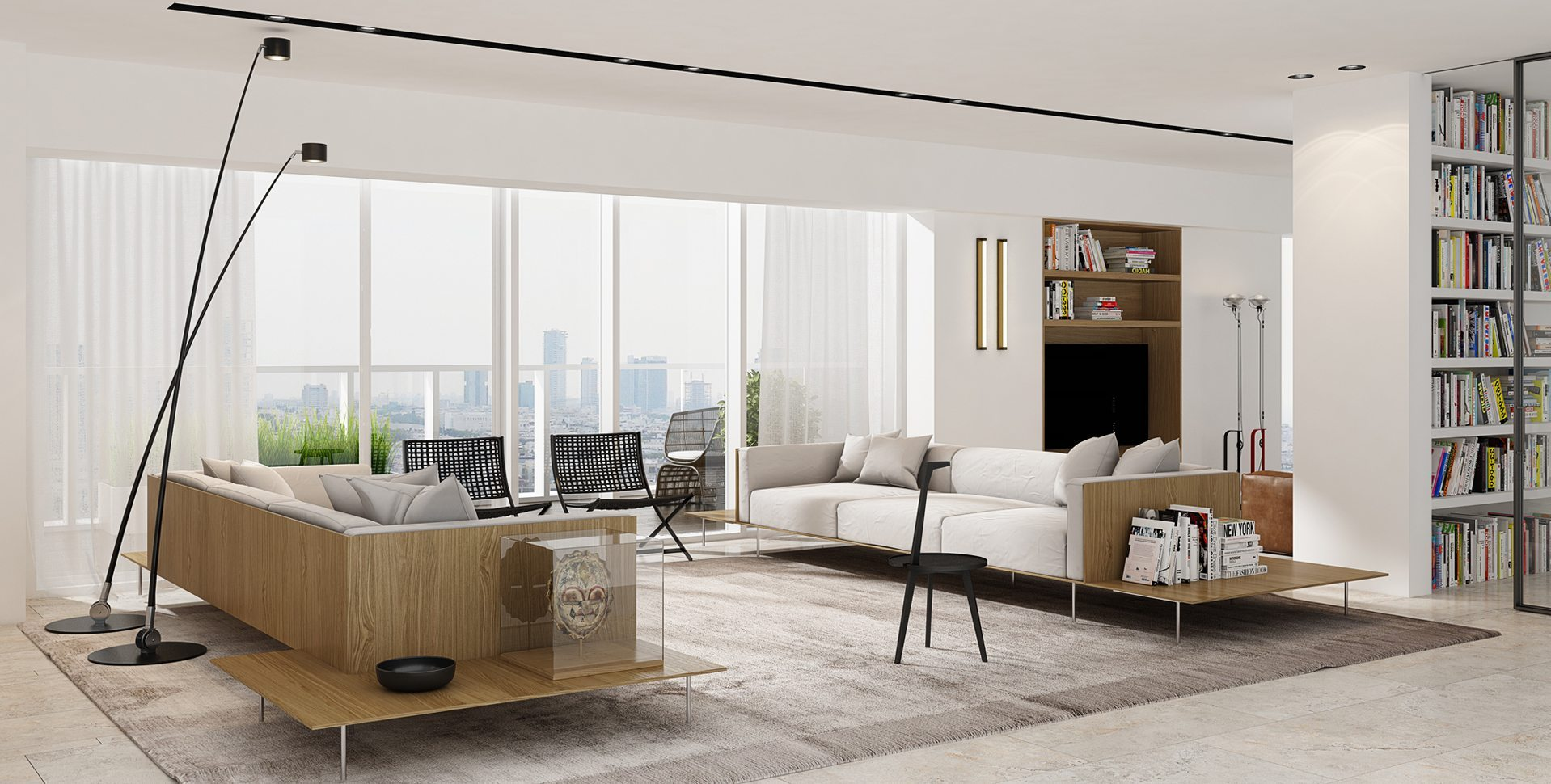 Architectural Visualization: Penthouse Apartment, Living room, Architect Itzik Eini