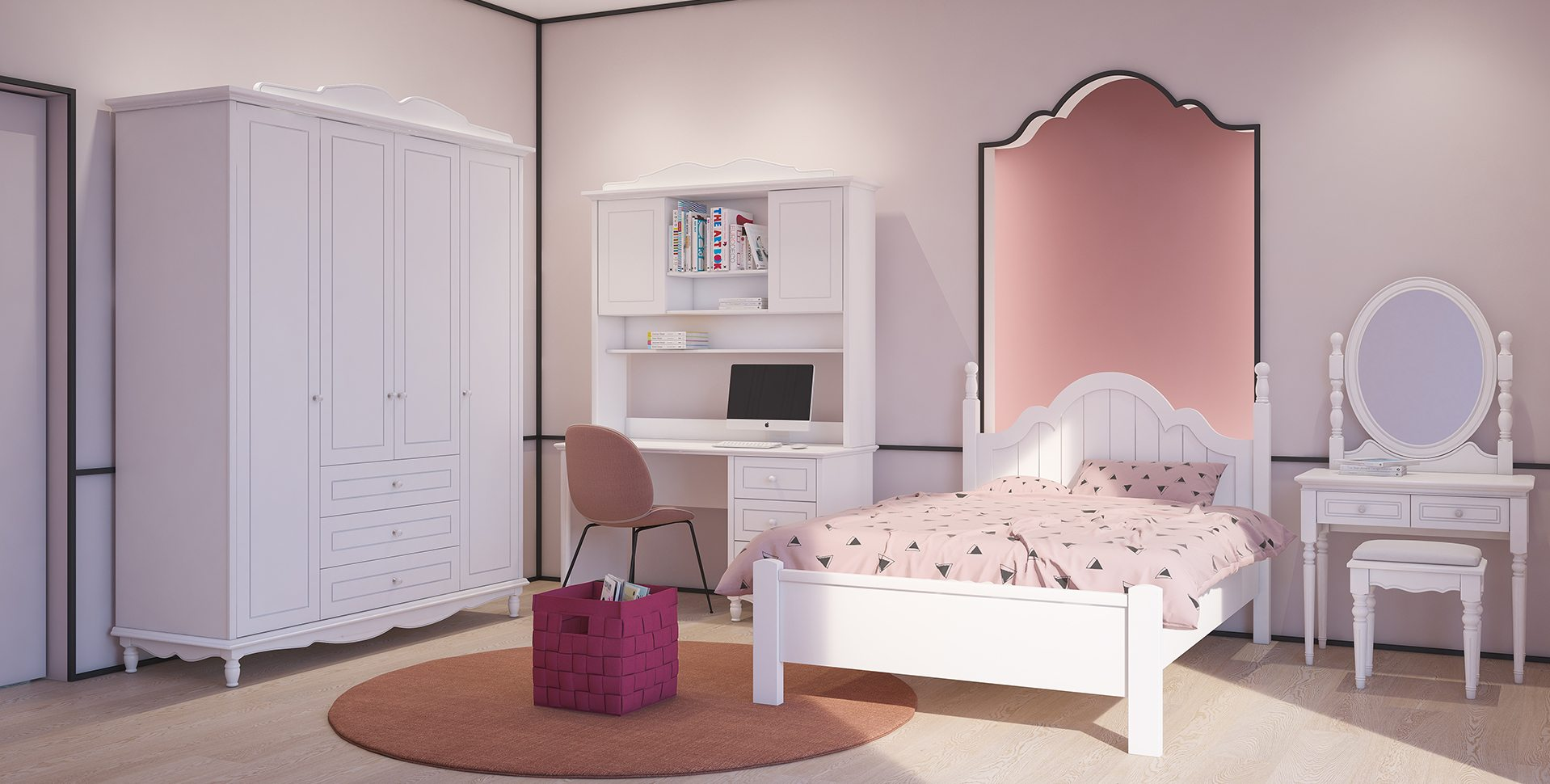 Product Visualization: Teen Girls room, Furniture by Barzilay