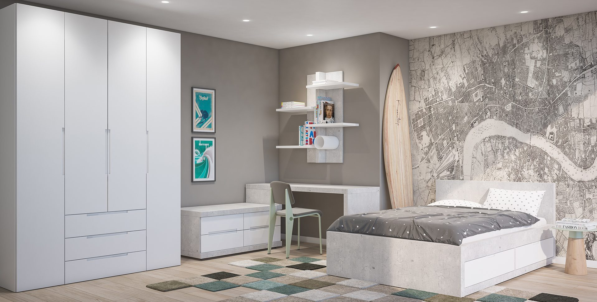 Product Visualization: Teen Boys room, Furniture by Barzilay
