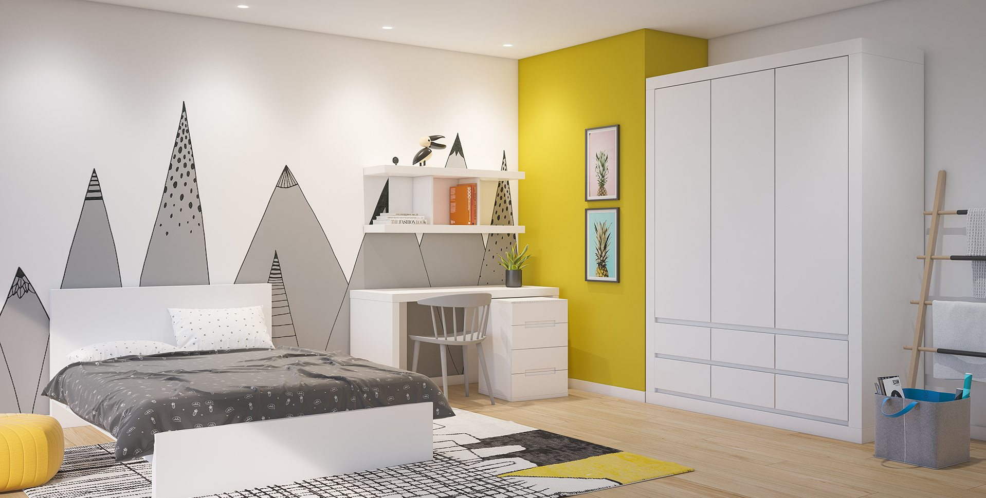 Product Visualization: Teen Unisex room, Furniture by Barzilay
