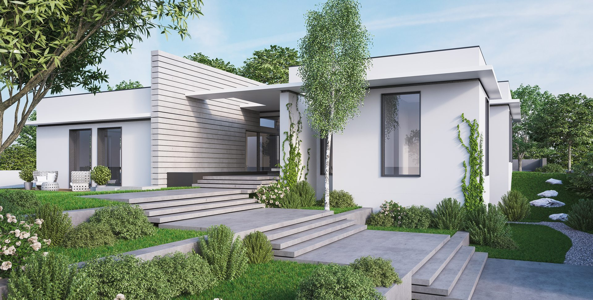 Architectural Visualization: Private Residence, Entrance Exterior View, Architect: Yulie Wollman
