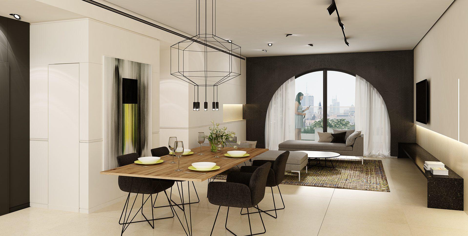 Architectural Visualization: Apartment interior design, Mamilla Project, Jerusalem