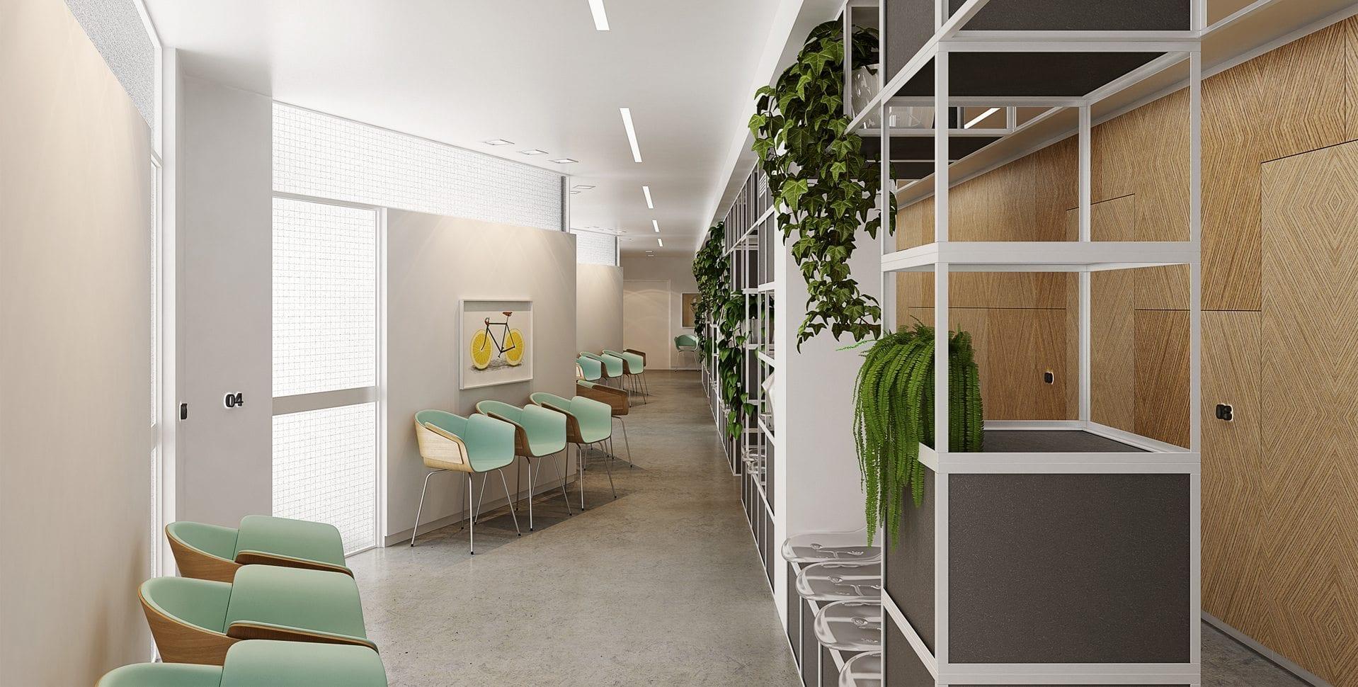 Maayan-Golan_Architectural-Visualization_ clinic-visualization_hallway_habarzel-tel-aviv_design-zarka-arch-naomi-szwec_01