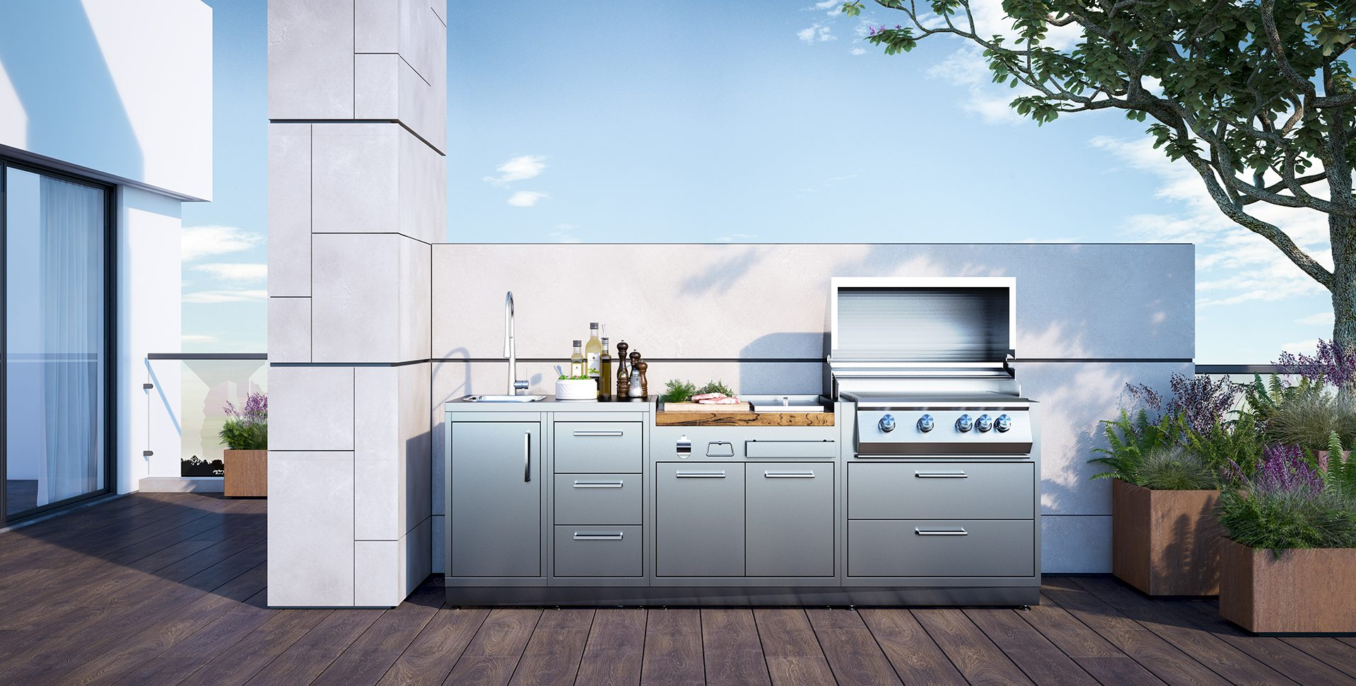 Product Visualization: Stainless steel Exterior Kitchen