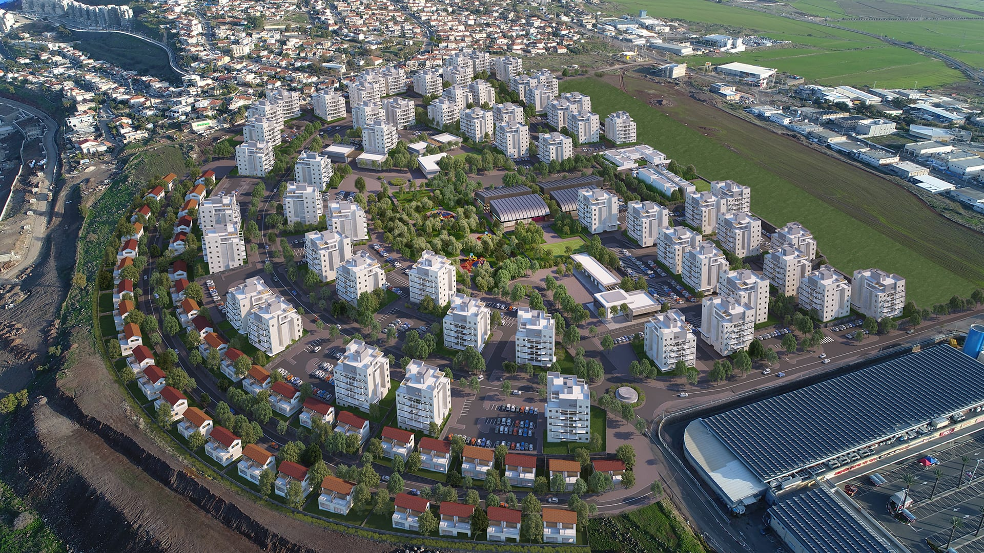 Maayan-Golan_Architectural-Visualization_exterior-visualization_bird-eye-view_ Residential neighborhood_Poriya-Tveria_01